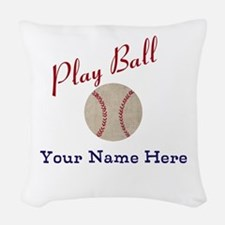 Personalize It! Play Ball Base Woven Throw Pillow