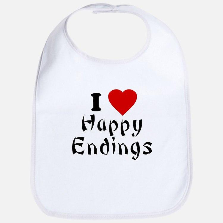 I Love [Heart] Happy Endings Bib