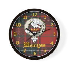 Wemyss Clan Crest / Tartan Wall Clock
