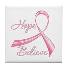 Breast Cancer HopeBelieve Tile Coaster
