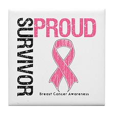 BreastCancer ProudSurvivor Tile Coaster