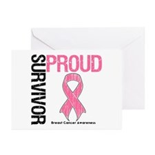 BreastCancer ProudSurvivor Greeting Cards (Pk of 2