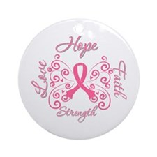 Breast Cancer Butterfly Hope Ornament (Round)