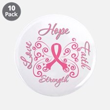 """Breast Cancer Butterfly Hope 3.5"""" Button (10 pack)"""