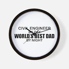 World's Best Dad - Civil Eng Wall Clock