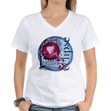 Eclipse Blue Moon by Twibaby.com Women's V-Neck T-