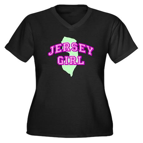 Jersey Girl State Women's Plus Size V-Neck Dark T-
