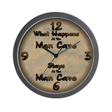 What Happens At The Man Cave... Wall Clock