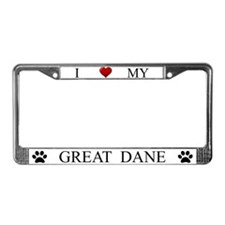 White I Love My Great Dane License Plate Frame