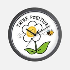 Think Positive Bee Wall Clock