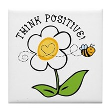 Think Positive Bee Tile Coaster