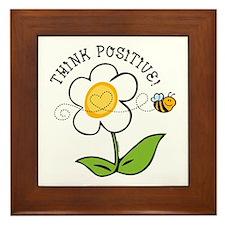 Think Positive Bee Framed Tile