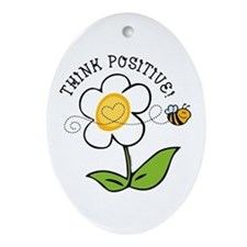 Think Positive Bee Ornament (Oval)