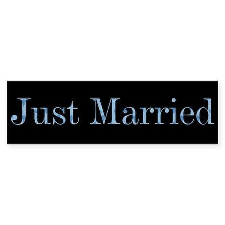 Blue Camo Just Married Bumper Sticker
