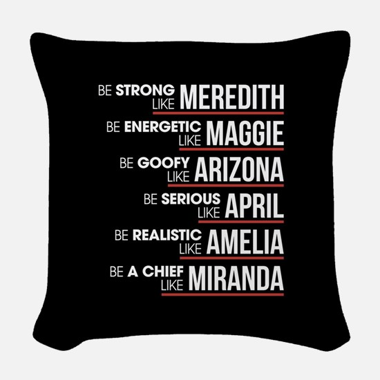 Be Strong Like Meredith Woven Throw Pillow