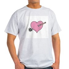 Heart With Mace Ash Grey T-Shirt