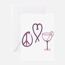 Cute Peace love wine Greeting Cards (Pk of 10)