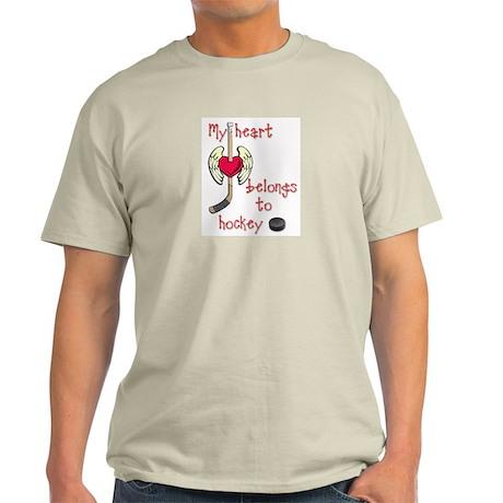 My Heart Belongs to Hockey Ash Grey T-Shirt