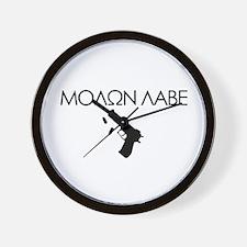 Molon Labe (Pistol) Wall Clock
