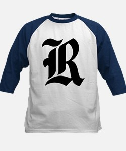 """Letter """"R"""" (Gothic Initial) Kids Baseball Jersey"""