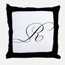 letter r cursive initial throw pillow