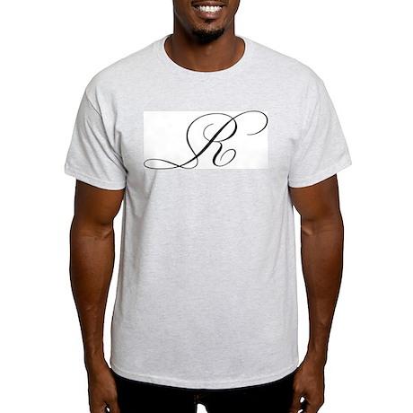 """Letter """"R"""" (Cursive Initial) Ash Grey T-Shirt"""