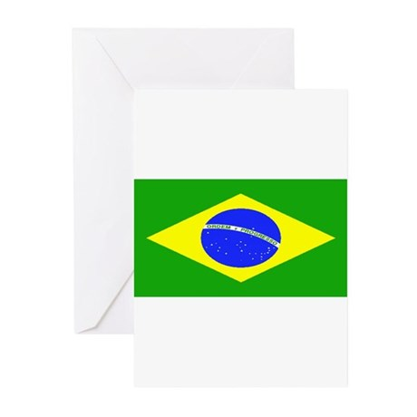 Brazil Blank Flag Greeting Cards (Pk of 10)