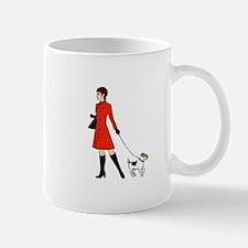 chic dog walker Small Small Mug