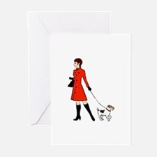 chic dog walker Greeting Cards (Pk of 10)
