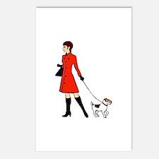 chic dog walker Postcards (Package of 8)