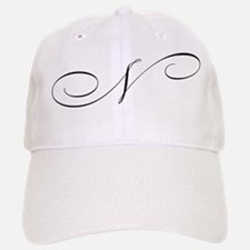 letter n cursive initial baseball baseball cap