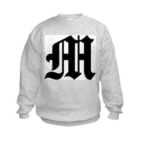 "Letter ""M"" (Gothic Initial) Kids Sweatshirt"