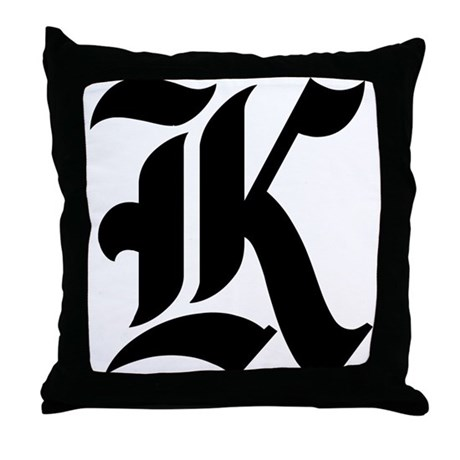 """Letter """"K"""" (Gothic Initial) Throw Pillow"""