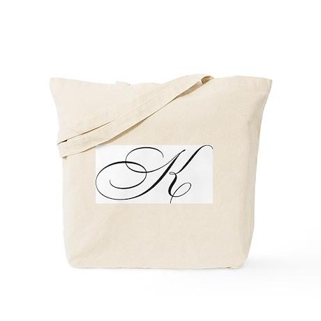 """Letter """"K"""" (Cursive Initial) Tote Bag"""