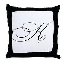 "Letter ""K"" (Cursive Initial) Throw Pillow"