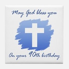 Christian 90th Birthday Tile Coaster