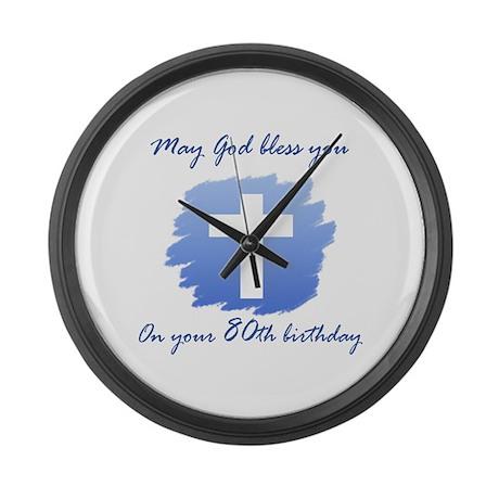 Christian 80th Birthday Large Wall Clock