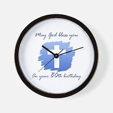 Christian 80th Birthday Wall Clock