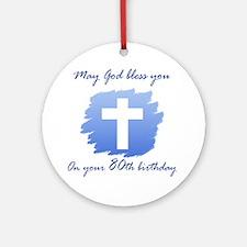 Christian 80th Birthday Ornament (Round)