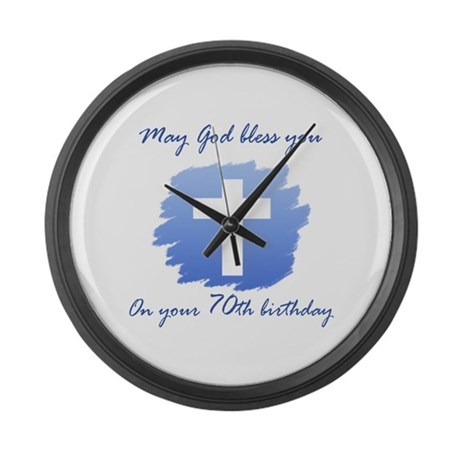 Christian 70th Birthday Large Wall Clock