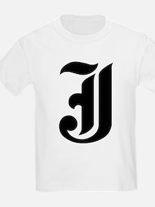"Letter ""J"" (Gothic Initial) Kids T-Shirt"