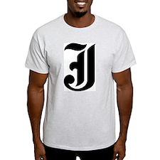 "Letter ""J"" (Gothic Initial) Ash Grey T-Shirt"