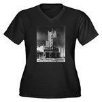 Tower Theatre Women's Plus Size V-Neck Dark T-Shir