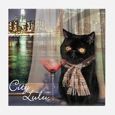 City Lulu Black Cat Tile Coaster