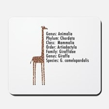 giraffe - with text Mousepad