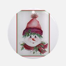 Cheery Snowman Ornament (Round)