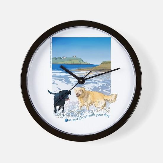 Playful Dogs On Beach Wall Clock