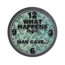 What Happens In The Man Cave Steel Plate Wall Cloc