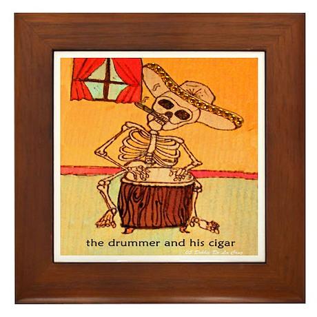 The Drummer and his cigar. Framed Tile