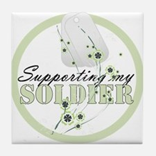 Supporting/Flowers Tile Coaster